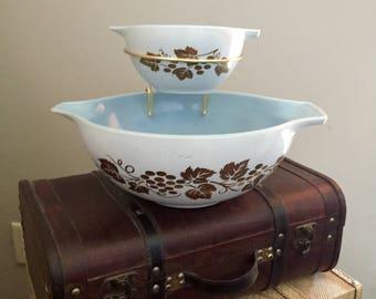 Vintage Pyrex Blue Delphite Golden Grapes Chip and Dip Set 441/444