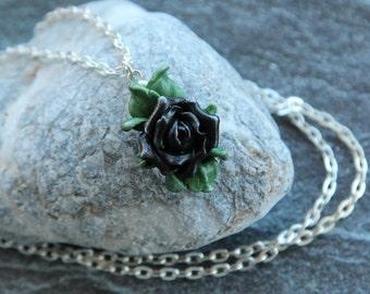 Black rose pendant Rose jewelry Pendant chain Pendant rose Floral jewelry  Polymer clay pendant Womens gift Jewelry for women Black flower