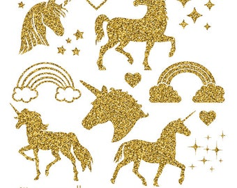 Gold Glitter Unicorn, Gold Glitter Unicorn Clipart, Glitter Unicorn png, Unicorn clipart, Unicorn Stencil, Unicorn Gold Glitter, Unicorn