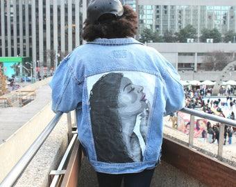 Hand Painted Denim Jacket: Lovely Lady