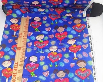 Timeless Treasures fabrics,Inc. 30in.Long 60 wide. Children's with hearts ,care,hope,love,unity,words .