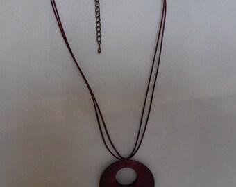 Wooden pendant necklace Burgundy bordeaux silk cord.