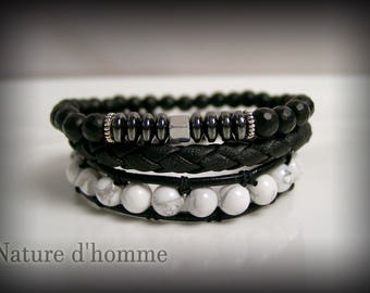 Men jewelry a trio of bracelets in leather and stones Ref: BN-394