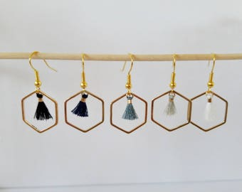 The little ' little tassels: hexagonal stud earrings and tassel