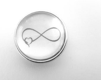Snap button snap 18mm infinity symbol with a heart in black and white