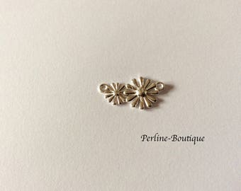 22 * 11MM 925 sterling silver spacer flowers