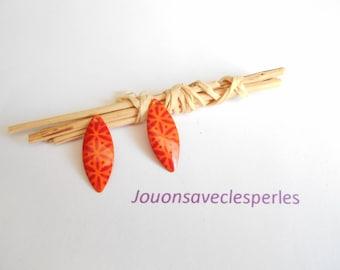x 2 25 x 10 mm orange flower sequins Red