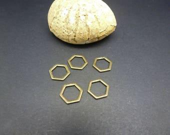 5 connectors geometric rings closed 11 * 10mm bronze Hexagon shape (8SCB17)