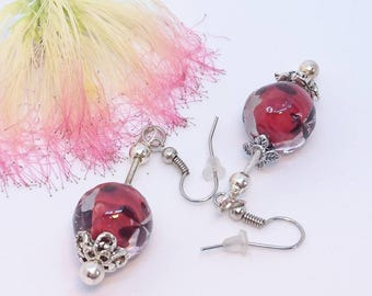 "Earrings ""Two albizia flowers"" blown glass, Silver 925 studs, beads and silver tone nickel free findings."