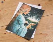 Postcard double // Art and poetry // Poème français // Fantasy style // Format 13x18 cm // 5x7 inch