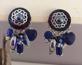fancy blue clip earrings