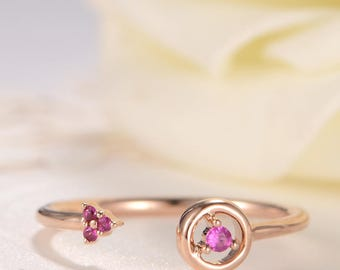 Rose Gold Open Ring Pink Sapphire Flower Ring Cluster Unique Adjustable Wedding Birthday Anniversary Gift for Her Women Birthstone Floral