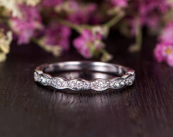 Wedding Band Women White Gold Diamond Ring Art Deco Stacking Stackable Bridal Engraving Minimalist Promise Ring Dainty Retro Antique Band