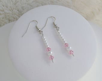 "Wedding earrings white pearls and pink ""TATIANA"""