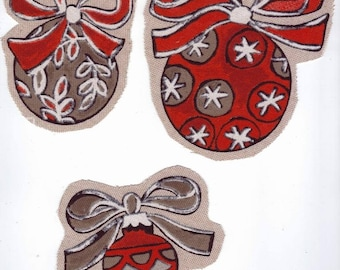 "Applied sewing textile ""traditional Christmas balls 3"" red and gray"