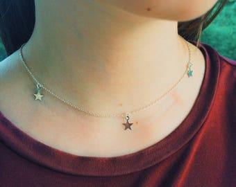 Starry, Starry Night dainty silver star necklace on petite silver chain.
