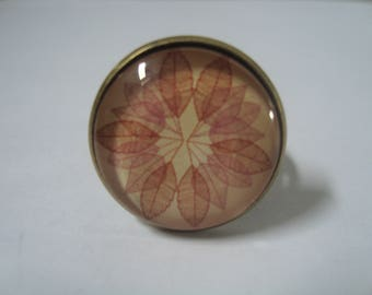 Autumn flower glass cabochon Adjustable ring