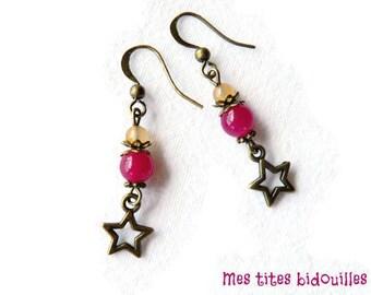 Star Stud Earrings * stones and BRONZE * Jade Fuchsia and orange Agate