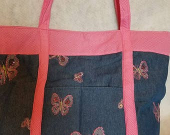 Pink Butterfly Bag - giant. (Diaper bag, Overnight bag, Tote bag)