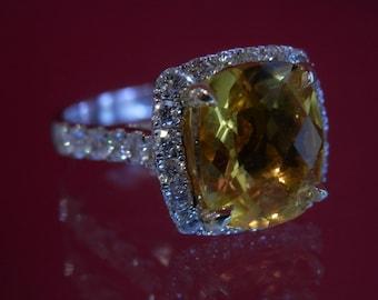 OOAK Handmade Mandarin Citrine and Diamond Ring (FREE Custom Sizing Available!)