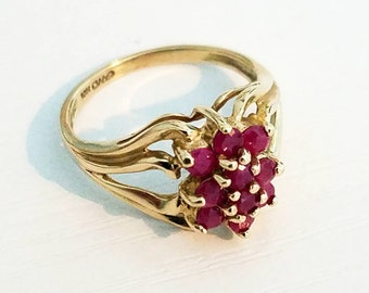 10K Gold Ruby Statement Ring Sz 7
