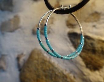 Hoop silver beads and miyuki beads