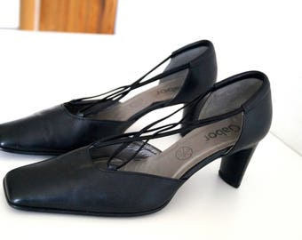 GABOR shoes Womens Leather shoes Genuine leather shoes Eur Size 40, UK 6 1/2, US 8 1/2 Black medium high heels Shoes Womens Leather pumps