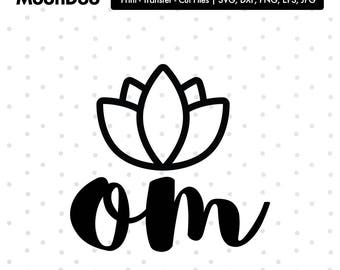 Om Svg, lotus flower Svg, For Silhouette For Cricut, Vector Cutting Files Vinyl Decal, om clipart, yoga svg, yoga clipart, yoga flower svg