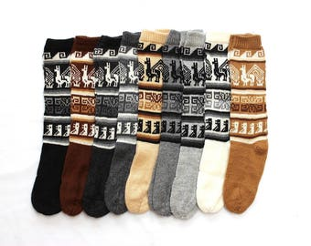 SALE 15% OFF* Bolivian Peruvian Alpaca Yarn Long Socks Light and Warm in Natural Colors with Ethnic Andean Designs