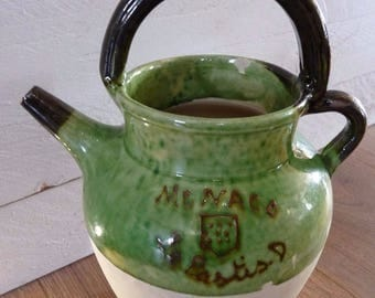 "Beautiful old pitcher ""Monaco Pastis. D ""glazed terra-cotta / Ricard / Shepherd / carafe"""