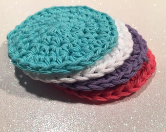 100% Cotton Crochet Face Scrubbie, Set of 4, Handmade, Reusable, Makeup remover, Eco-friendy, Great gift for Mom