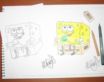 SpongeBob PDF, A5 pdf cartoons,A5 SpongeBob,Black and white or colorful PDF,Black and white SpongeBob,Colorful SpongeBob,Pdf for children
