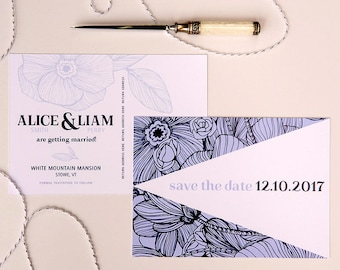 blue floral wedding save the date postcards