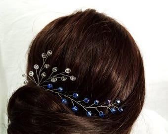 Blue Crystals Hair pin wedding Hairpin Royal blue Rhinestone Royal blue hair pin Something blue Bridal Hair Pins Blue wedding Hair pin
