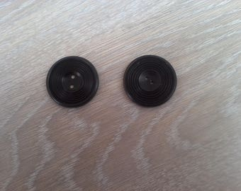 Set of 2 black acrylic vintage buttons