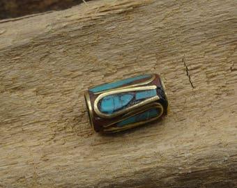 Long turquoise brass Nepali bead handmade 13mm