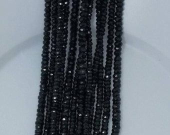 """Black spinel facetted 3mm-4mm roundale - 14"""" strand"""