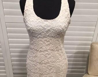 Engagement Dress White Lace Short Sz L