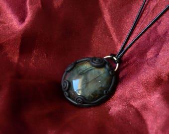 Labradorite Artefact - Polymer Clay Necklace - Labradorite Necklace - Labradorite Jewelry - Fairy Jewelry