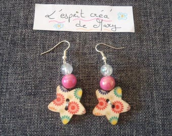 hippy floral design star button earrings