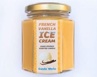 French Vanilla Scented Candle - Handmade Candles, Vanilla Scented Candles, Candle Gifts, Ideas, Valentines, Luxury Candles