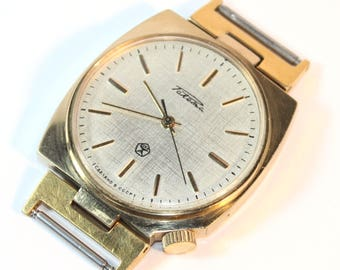 RAKETA RARE Shape Lugs vintage Soviet Russian gold plated watch made in USSR #08