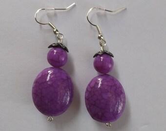 Purple Earrings/ Purple Beaded Dangle Earrings/ Purple Dangle Earrings