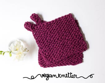 Square kitchen organic, vegan and zero waste to knit, 2 in 1, potholders and dishcloths