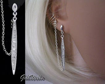 """Ear Cuff """"Linked silver and Crystal sword"""""""