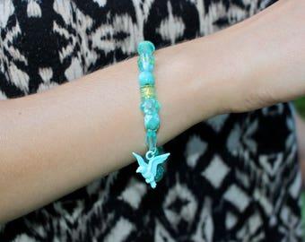 Free Spirit Bird Bracelet in Aqua & Gold
