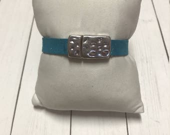 Blue Faux Leather Bracelet, Gift For Her, Gift For him