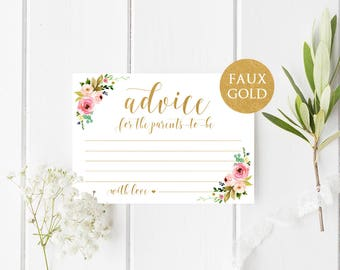Advice for new parents cards Advice for parents to be Baby shower gold advice cards Baby shower games Baby shower ideas Floral advice ideas