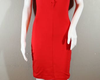 Vintage 80's-90's Red Dress;size small; Jersey Material