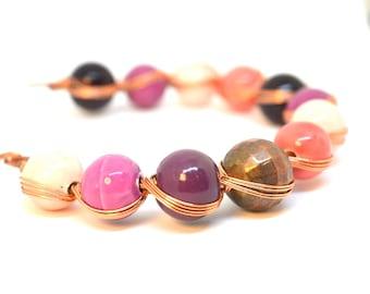 Copper wire bracelet with Drawbench Acrylic Beads